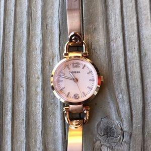 Fossil Matte & Polished Rose Gold Bracelet Watch!